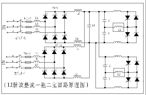 注:在变压器的高压侧应有无载调压开关,电压在-5%,0,+5%三档调节。 3、中频电源 本电炉设备中频电源采用以下形式: 3.1、电路采用12脉波整流方式,进线电压采用650V。逆变采用半桥逆变,逆变可控硅采用双串联形式。其电路原理图如下:  3.4、中频电源结构特点: 3.4.1、整流部分的可控硅采用了最新的叠装式散热器。 这种安装方式使可控硅的拆装变得更加方便和科学,在更换可控硅时,只要松开一个顶紧螺栓,即可更换组件内任何一个可控硅元件。散热器组件上有刻度供紧固时作参照,可以保证可控硅和散热器之间正确